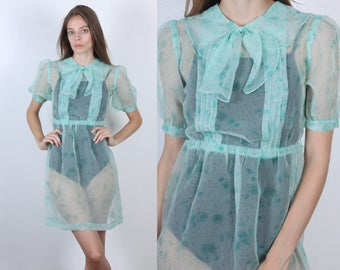 60s Sheer Dress // Vintage Peter Pan Collar Blue Floral Ruffle Bow Mini Dress - Extra Small xs