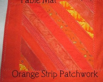 TABLE MAT, Mini QUILT,  Orange,  String Patchwork,  Home Decor, Country Cabin Decor,  Cottage Décor,  Hostess Gift, Home and Living, Kitchen