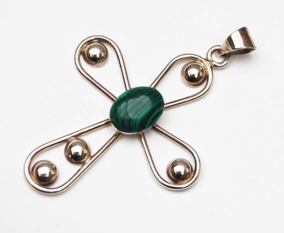 Sterling Malachite  Cross  Pendant - Green gemstone - 925  silver - jewelry making - craft