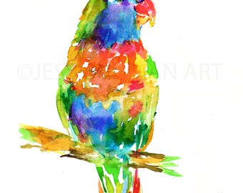 """Print of Original Watercolor Painting, Titled: """"The World is a Rainbow"""" by Jessica Buhman  Green Yellow Bird Flying"""
