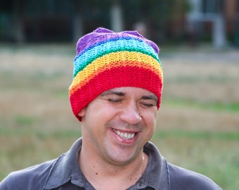 Colorful beanie rainbow hat rainbow beanie gay pride hat gay wedding gift gay hat gay husband cotton beanie hat funny hat trans pride beanie