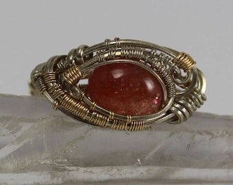 Sunstone cabochon in sterling silver wire wrapped ring size 7.5