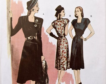 Retro Butterick B5281 Sewing Pattern Vintage 1940's Reproduction Dress Square Neck Waist Seam 40s Style  UNCUT Factory Folds Size 6-12