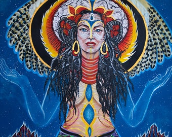 Kali &Star Nations-Tapestry-wall-hanging Visionary Art High quality