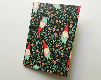 Garden Gnome In The Forest 5 x 7 blank journal   25 pages   sketchbook   notebook   memo journal