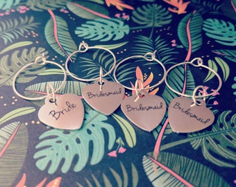Bride and Bridesmaid Wine Drink Charms Bachelorette Party Bridal Shower