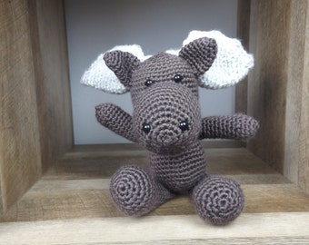 Marty the MOOSE, little Parlor Pals, CROCHET ANIMALS, baby gift