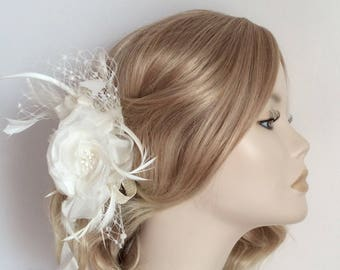 IVORY FLOWER FASCINATOR, Silk flower, feathers,  net, on Ivory satin headband