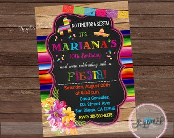 Fiesta Invitation, Fiesta Birthday Party Invitation, Mexican Fiesta Birthday Party Invitation, Invitacion Fiesta Mexicana, Digital File
