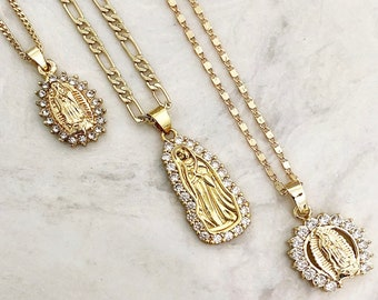 The CZ Halo Virgin Mary Necklace/Gold Virgin Mary/Medallion Necklace/Layering Necklace/Tiny Coin Necklace/Saint Charm Necklace/ Coin Chain