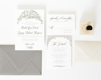 Floral Wedding Invitations, Gray and Gold Wedding Invitations, Elegant, Classy Wedding Invitations, Wedding Invite, Floral, Custom Printed