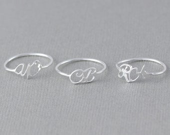 Skinny Initial Ring •  Dainty Personalized name ring  •  Message ring •  Memorial Initial Ring • Sympathy Gift • Gift for Her ( BSH 29 NW )