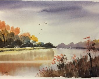 Original Watercolor Landscape Painting - River Roaming