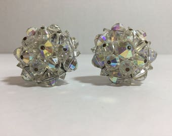 Vintage Aurora Borealis Clip On Earrings  1950-1960