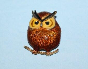Vintage Enameled Owl Brooch