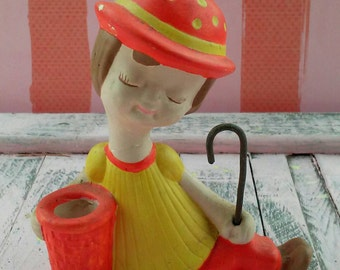 Vintage 1975 Chalk Ware Figurine Girl with Basket