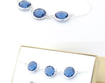 Navy Blue / Silver Triple Circle Bracelet - Navy Bridesmaid Gift Jewelry - Blue Bridesmaid Bracelet - Wedding Jewelry - Something Blue - BB3