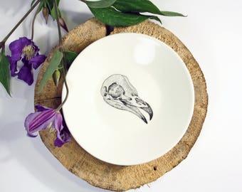 Mini Plate Birdskull, Screenprint, black and white, nature print, tableware