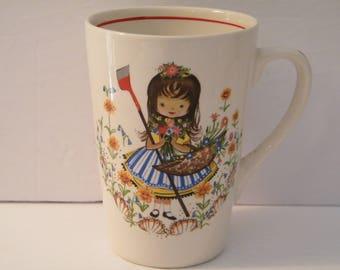 Mary Quite Contrary Mug, Vintage Childrens Nursery Rhyme cup, Royal Falconware, Hanley, England china, 1940s kids cocoa or milk