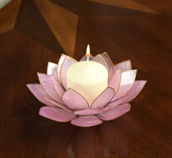 Lavender Lotus Flower Capiz Shell Candle Holder - A Real Jewel of a Gift and Keepsake