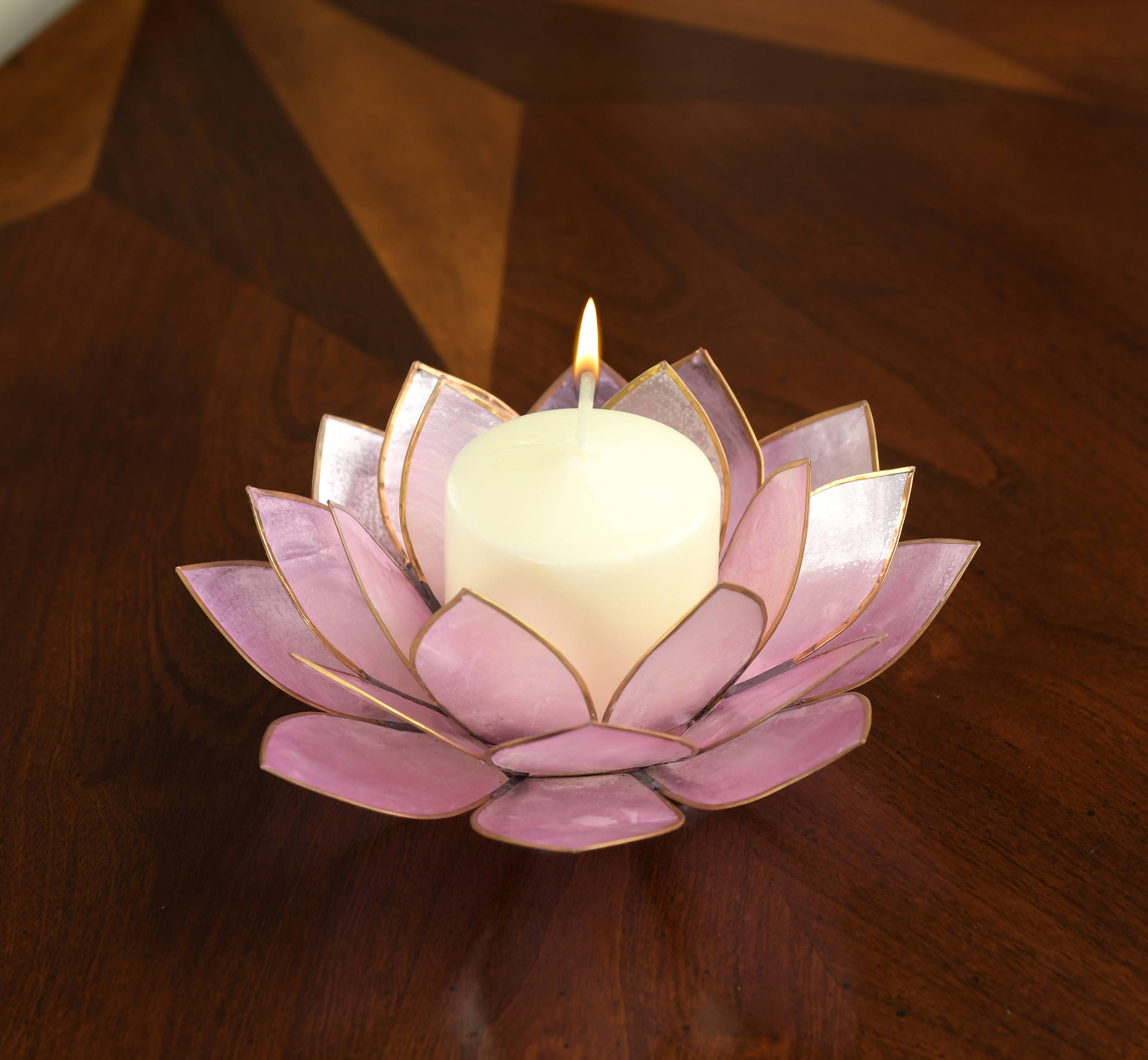 Lavender Lotus Flower Capiz Shell Candle Holder A Real Jewel