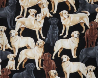 Allover All Kinds of Labradors Print Pure Cotton Fabric--By the Yard