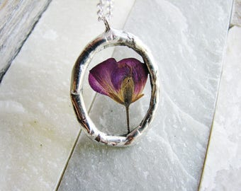 Framed Glass Pendant, Pressed Flower Necklace, Geranium Flower Necklace, Soldered Jewelry, Stained Glass Nature Inspired Botanical Jewelry