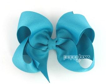 Girls Hair Bow - Caribbean blue hair bow 4 inch bows - large hair bows - girl hair bows - toddler hairbows - toddler hair bows - big bows
