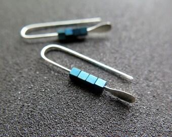 turquoise earrings. metallic blue jewelry. small silver earings.