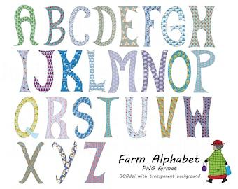 Farm Theme Alphabet Clip Art Hand Drawn Blue PNG clipart A 120