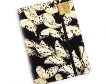 Kindle Paperwhite cover - Butterfly Luxe - Kindle Touch,  Basic - hardcover eReader case - gold and black butterflies