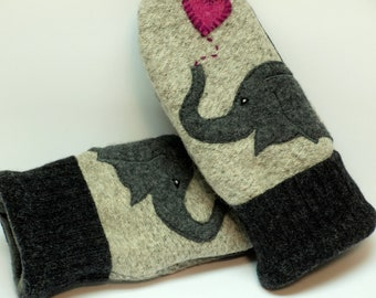 Eco Friendly Mittens Wool Sweater Mittens Felted Wool Gray Elephant Applique Fleece Lining Leather Palm Upcycled Size M/L