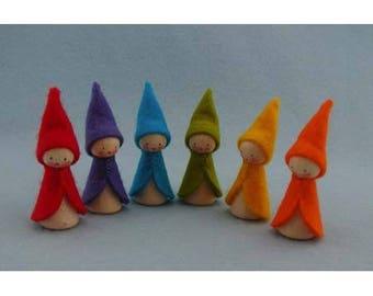 Six Rainbow Elves / creative DIY miniature Sewing Kit / pawns