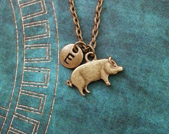 Pig Necklace SMALL Brass Pig Jewelry Farm Animal Necklace Animal Jewelry Monogram Necklace Bronze Pig Charm Necklace Swine Necklace Pendant