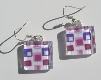 White Pink Purple Retro Print Earrings, Glass Dangle Earrings, Mid Century Print Earrings, Summer Earrings