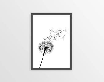 Dandelion Wall Art, Dandelion Print, Black And White Print, Dandelion Decor, Floral Wall Art, Dandelion Art, Dandelions, Instant Download