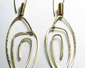 Hammered Brass with Coil Hooks