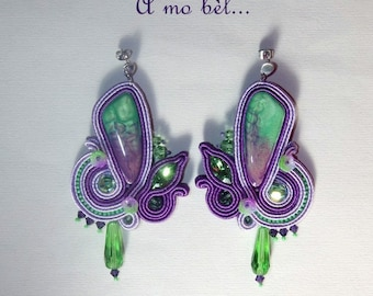 Orchid, soutache, handmade cabochon earrings