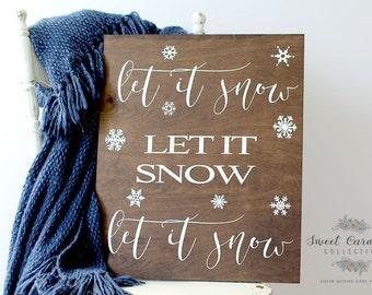Holiday Decor, Christmas Sign, Christmas Decor, Let It Snow Sign HD-12