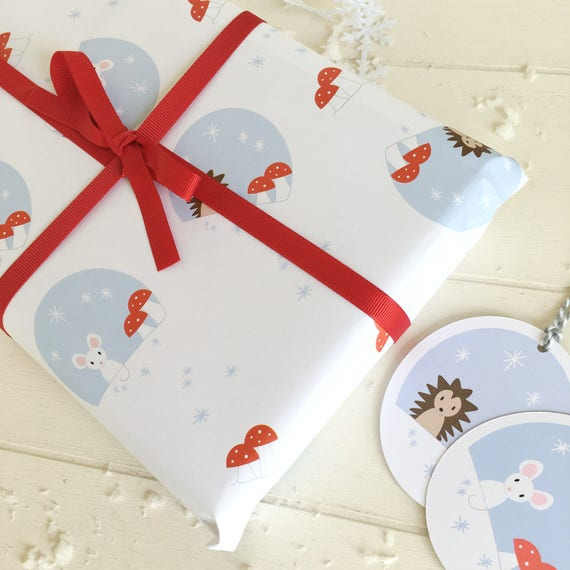 Christmas woodland gift wrap set - gift wrap and tags - woodland wrapping paper