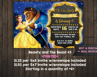 Beauty and the Beast Invitation, Princess Belle, PRINTED