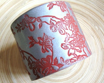 SALE Silver Cuff Bracelet Asian Style Red Dogwoood, Handmade Jewelry by theshagbag