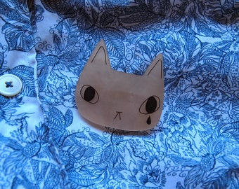 Sad cat face brooch - cat brooch - Peachy cat - Cat jewellery - I like cats - Acrylic jewellery - Acrylic brooch - Cats - cat gift - sad cat