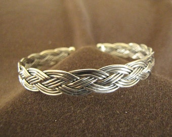 Sterling Silver Braided Open Back Bangle