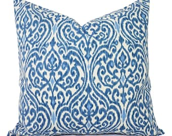 Decorative Pillows - Two Decorative Pillow Covers - Blue and Beige Ikat - 12x16 12x18 14x14 16x16 18x18 20x20 22x22 24x24 26x26 Pillows