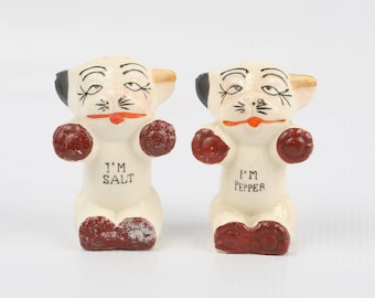 1930's Ceramic Japan Salt & Pepper Shakers, BONZO the Dog White with Black Brown Red Glaze. Excellent VTG Condition.