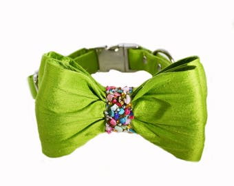 Lime Green Dog Bow Tie Collar with Multi-colored jewels