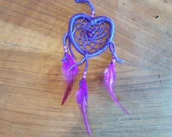 Dream catcher, handmade dreamcatcher, purple, Valentine's day, love, heart / actual 15 cm