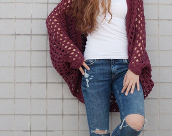 Hand Knit oversize sweater Long cardigan Dusty Cranberry sweater top wool sweater