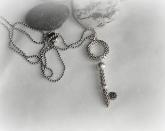 Beaded key necklace